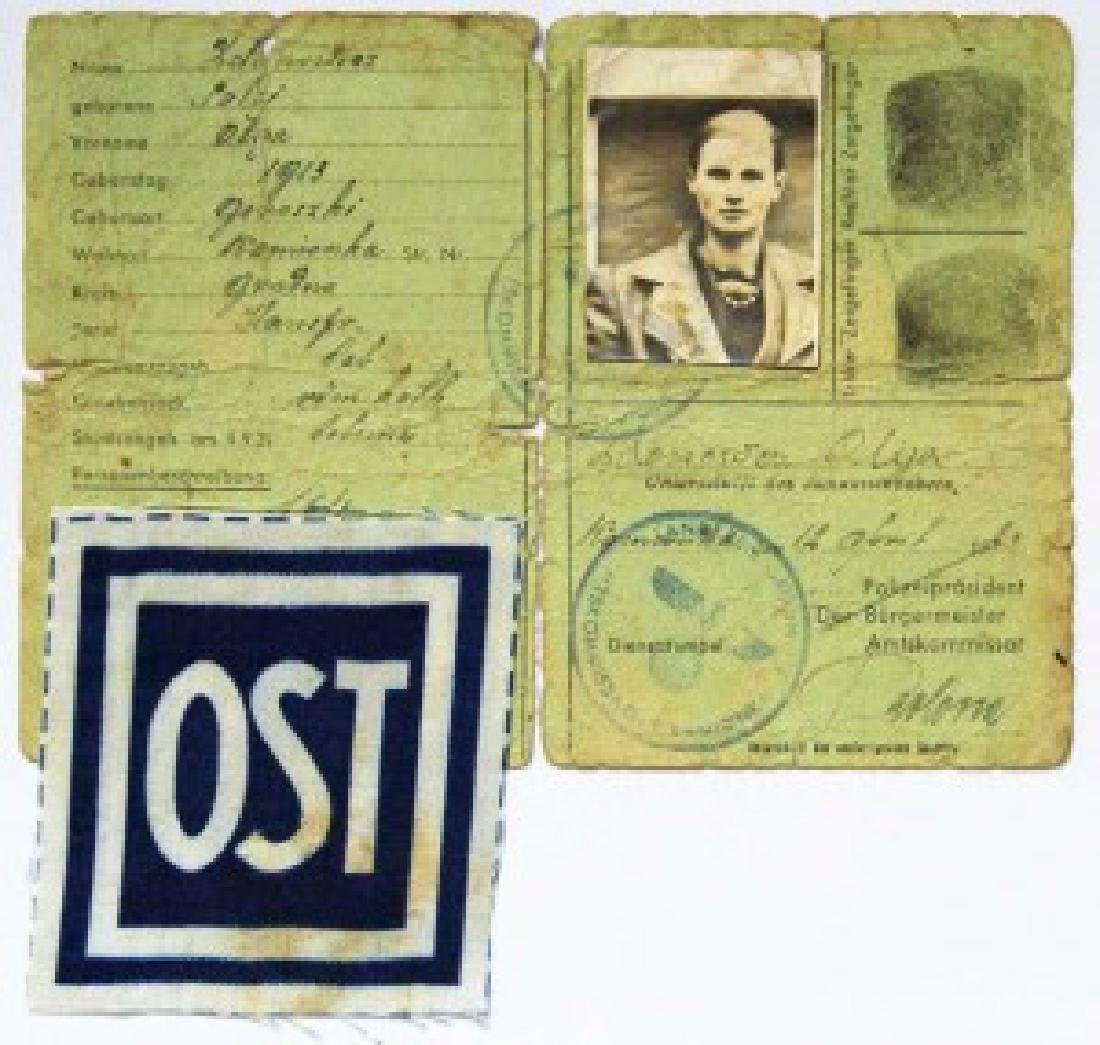 German WW2 Patch Russian - Ukrainian OST worker + ID