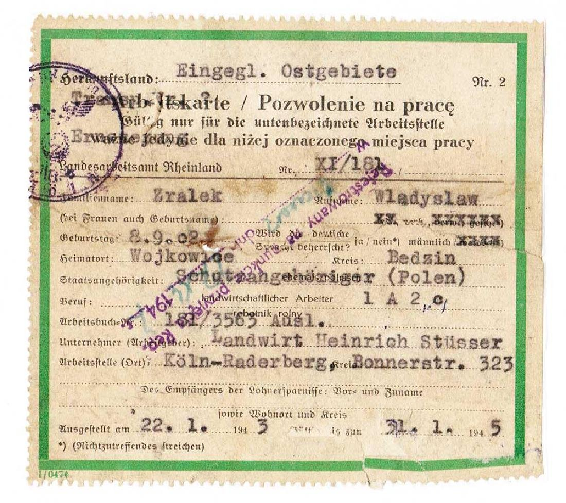 German WW2 Arbeitskarte for Polish Worker, 1943