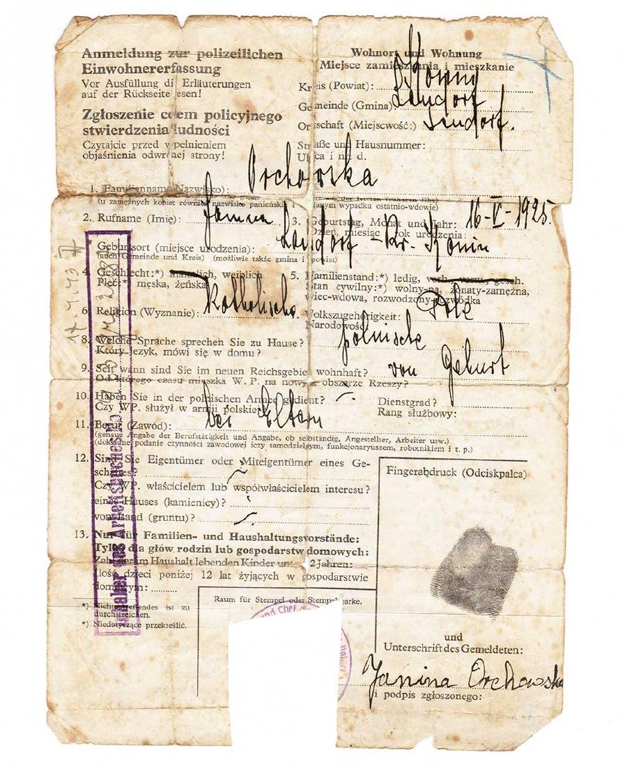 German WW2 Polizei Criminal Record w. Fingers Stamp,