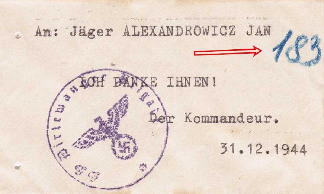 German WW2 Envelope f. Money in Jager Division, 1944