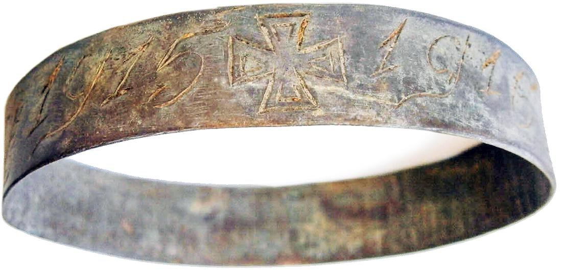 German WW1 Bracelet w. Iron Cross, Trench Art 1915