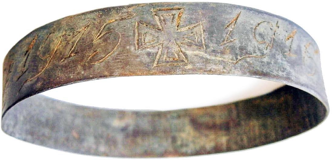 German WW1 Bracelet w. Iron Cross, Trench Art 1915