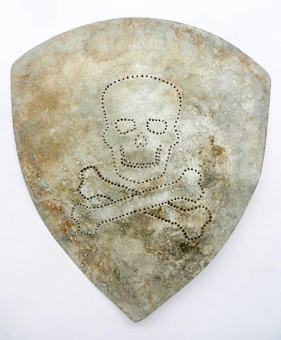 Original German WW2 Large Shield w. Skull & Bones