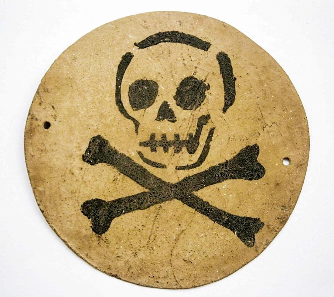 Original German WW2 Plate Sign STOP w. Skull & Bones