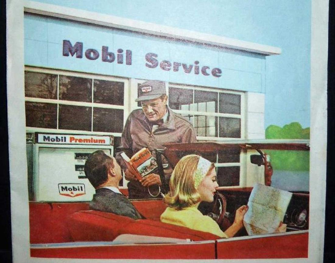 Rand McNally: Mobil - Northern New England Map, 1965