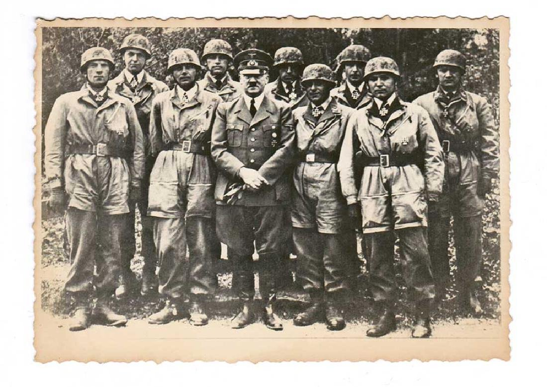 German WWII Photo of Adolf Hitler w. Paratroopers, - 3