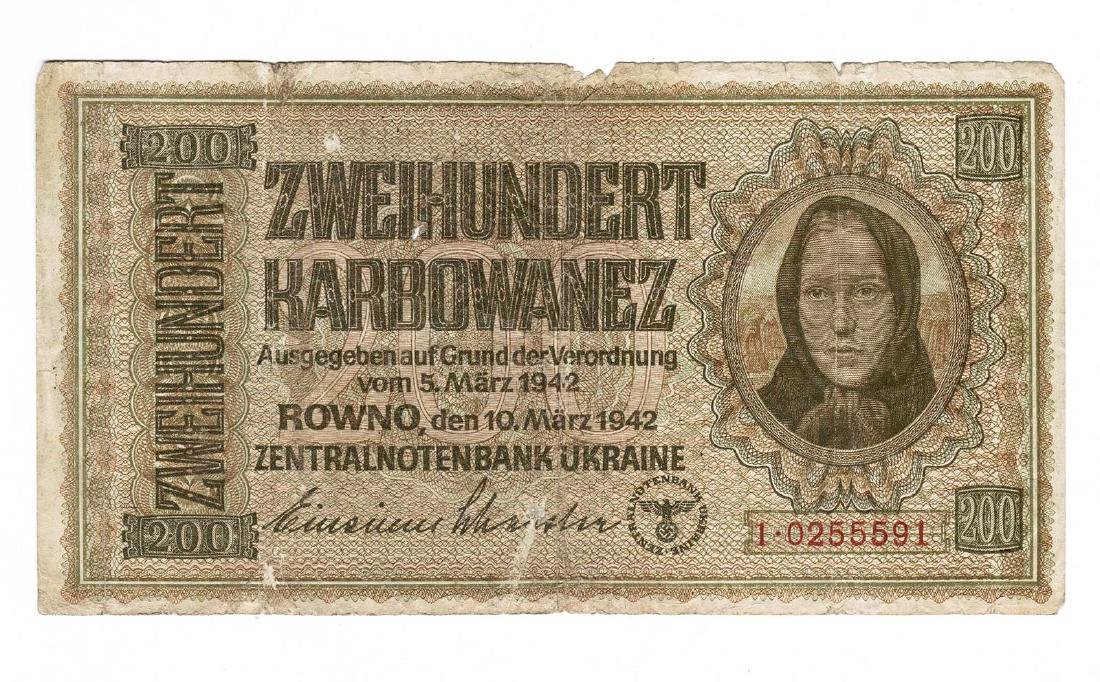 German - Ukrainian WW2 Money Banknote 200 Karbowanez,