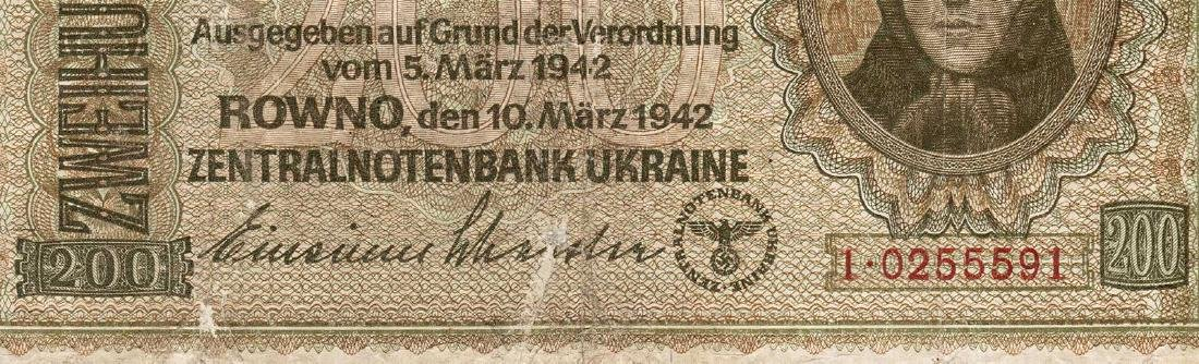 German - Ukrainian WW2 Money Banknote 200 Karbowanez, - 4