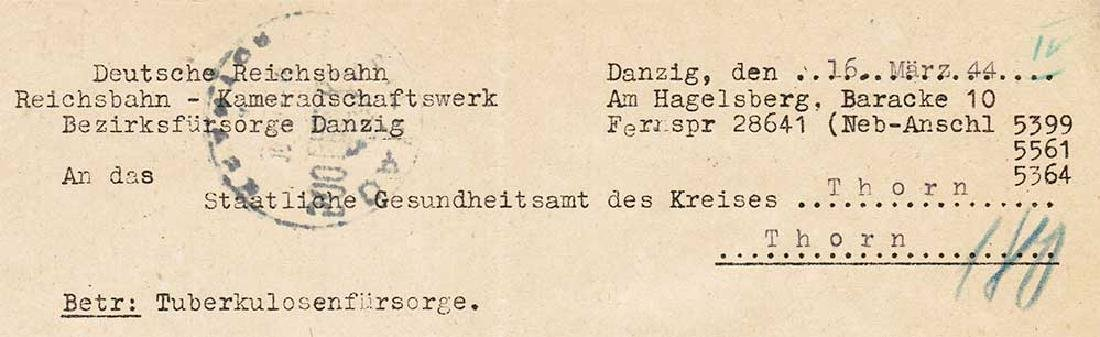 German WW2 Document, Tuberculosis Care, 1944 - 4