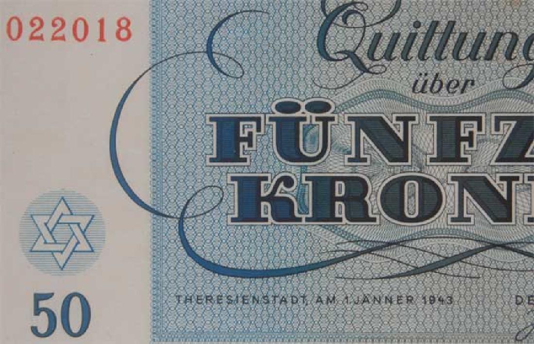 Rare WW2 50 Kronen Note fr. Theresienstadt KZ KL - 4