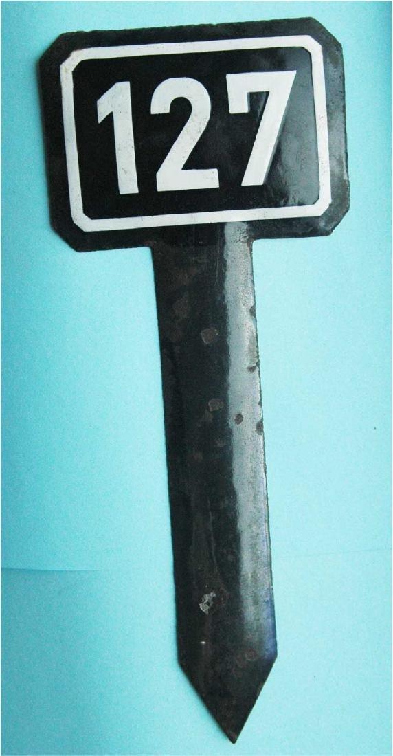 WW2 Enamel Sign for Railway Track, Buchenwald KZ