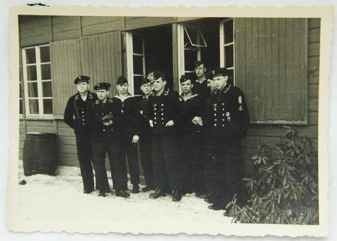 German WW2 Photo of Sailors w. Narvik Shield and Badges