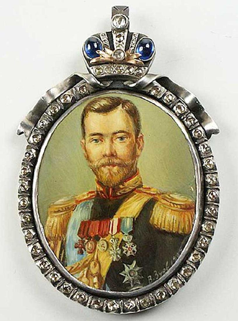 Unique Gold Russian Miniature of Nicholas 2, Faberge