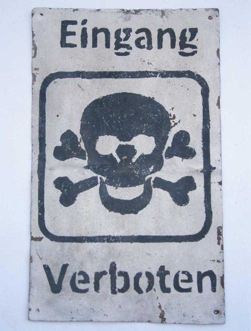 Original German WW2 Sign EINGANG VERBOTEN - 2