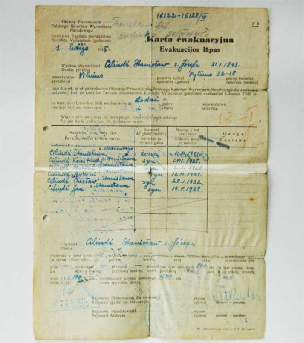 Extremely Rare Polish WW2 Document Evacuation, 1945