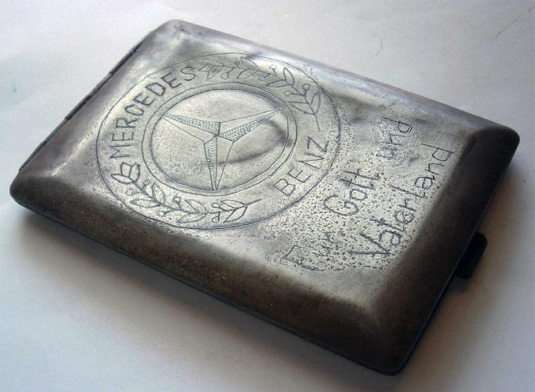 German WW2 Cigarette Case w. Mercedes Benz Logo - 3
