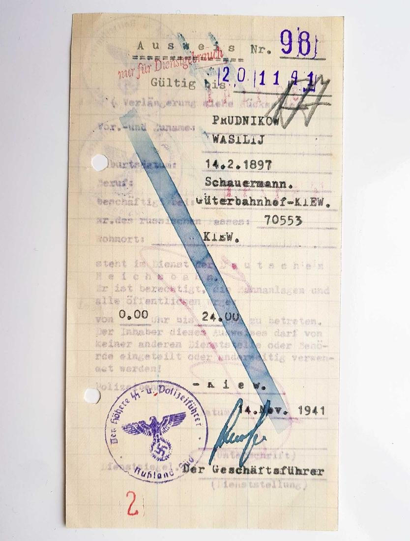 German WW2 Permission for Ukrainian Worker, 1941