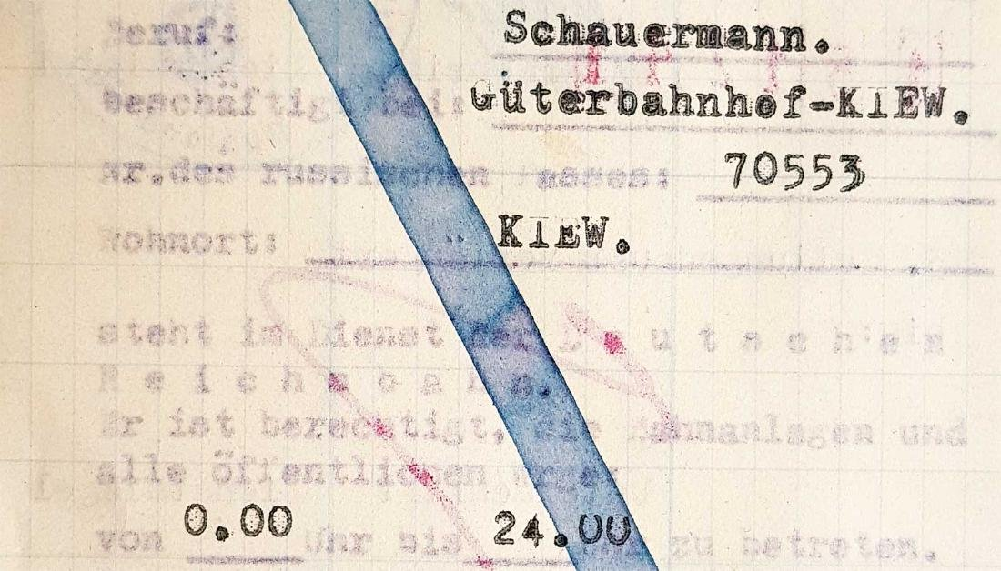 German WW2 Permission for Ukrainian Worker, 1941 - 3