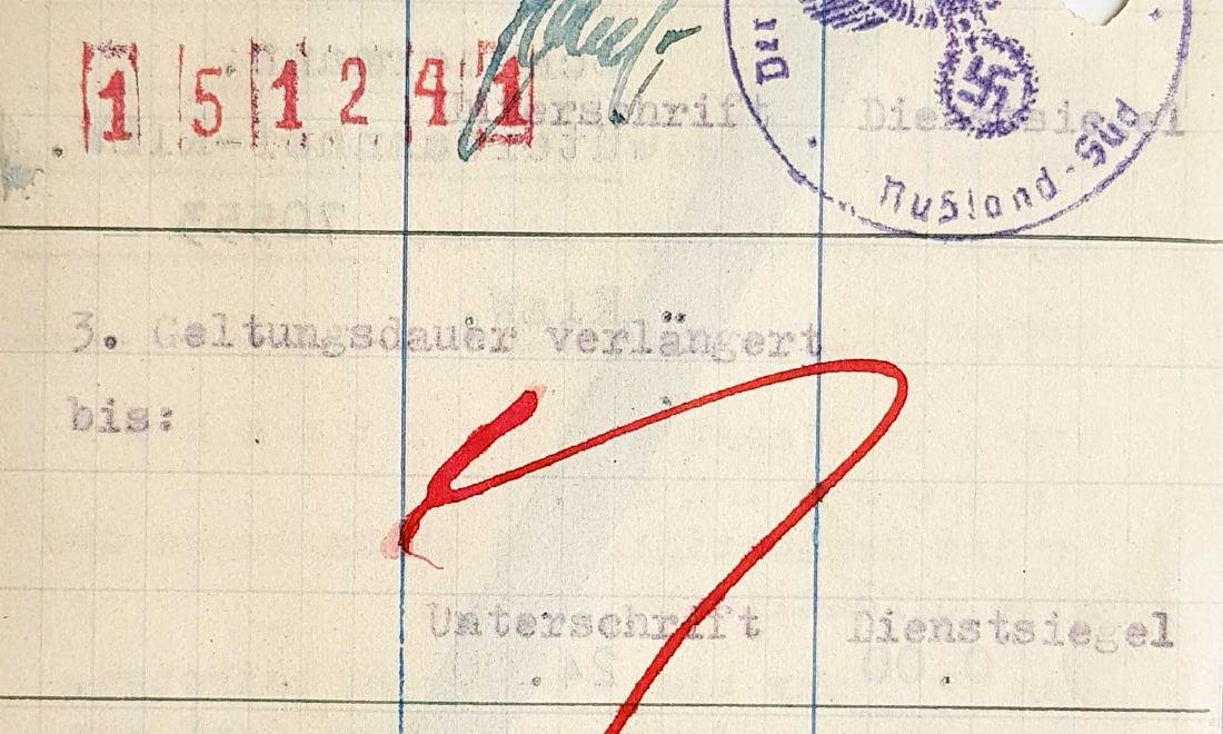German WW2 Permission for Ukrainian Worker, 1941 - 7