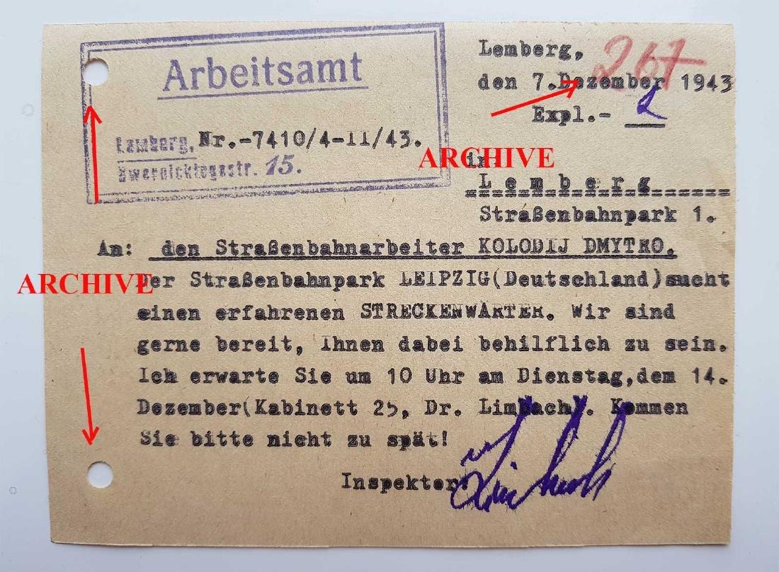 German WW2 Order for Ukrainian Worker, 1943