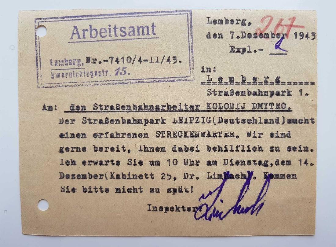 German WW2 Order for Ukrainian Worker, 1943 - 2