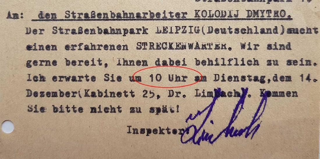 German WW2 Order for Ukrainian Worker, 1943 - 4
