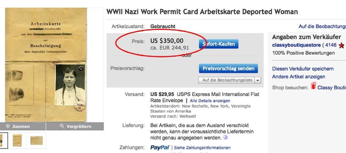 German WW2 Order for Ukrainian Worker, 1943 - 9