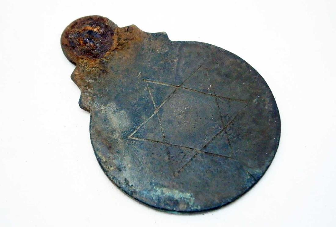 Jewish Antique Bronze Badge w. Star of David - 4