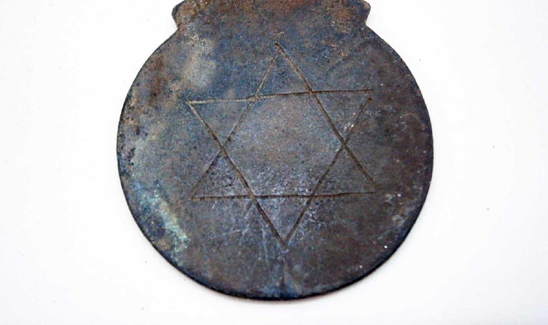 Jewish Antique Bronze Badge w. Star of David - 6