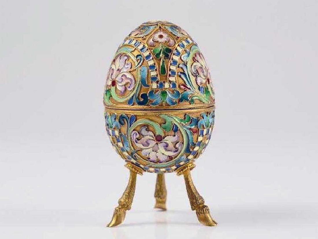 Russian Imperial Gilt Silver & Enamel Egg