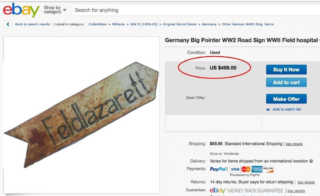 Original Rare German WW2 Road Sign LEMBERG - 13 km - 9