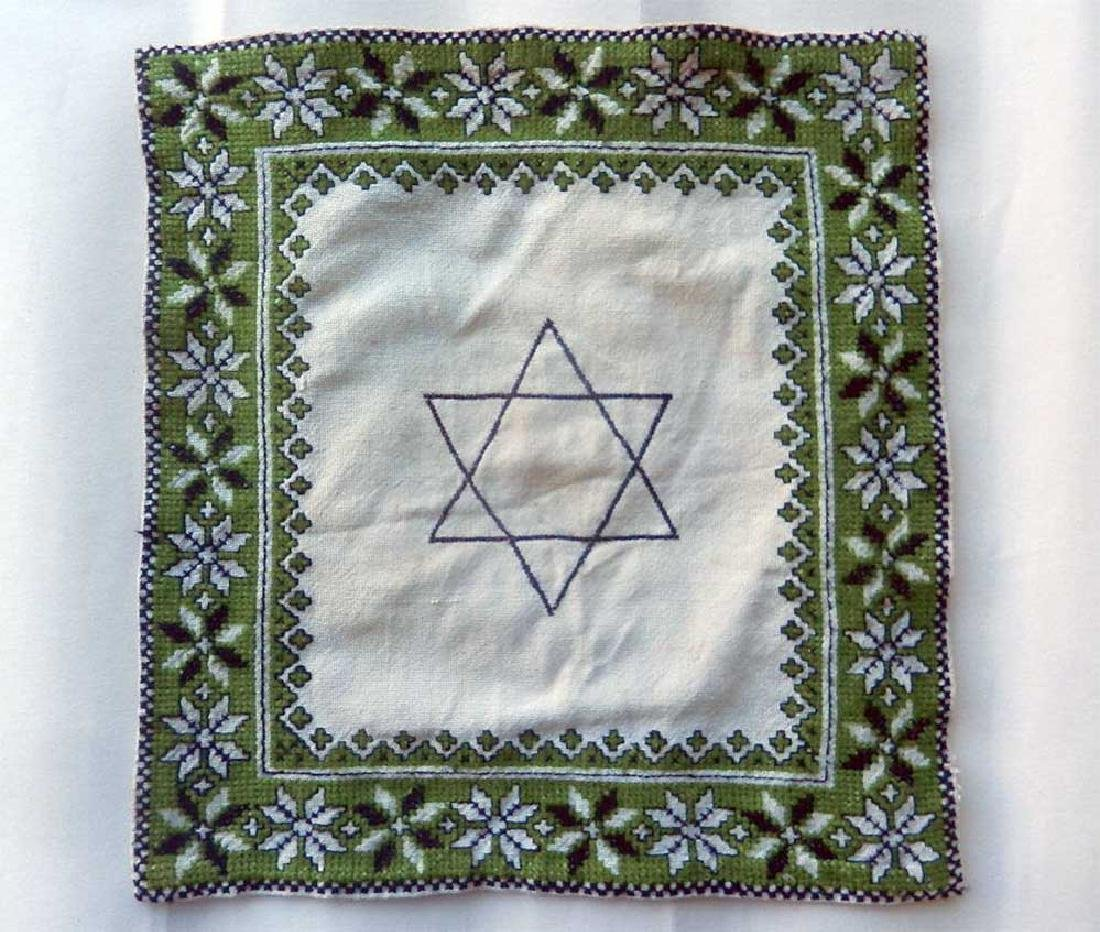 Jewish WW2 Napkin w. Star of David, Litzmannstadt