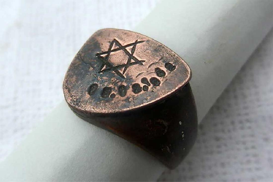 Jewish WW2 Ring w. Star of David fr. Litzmannstadt