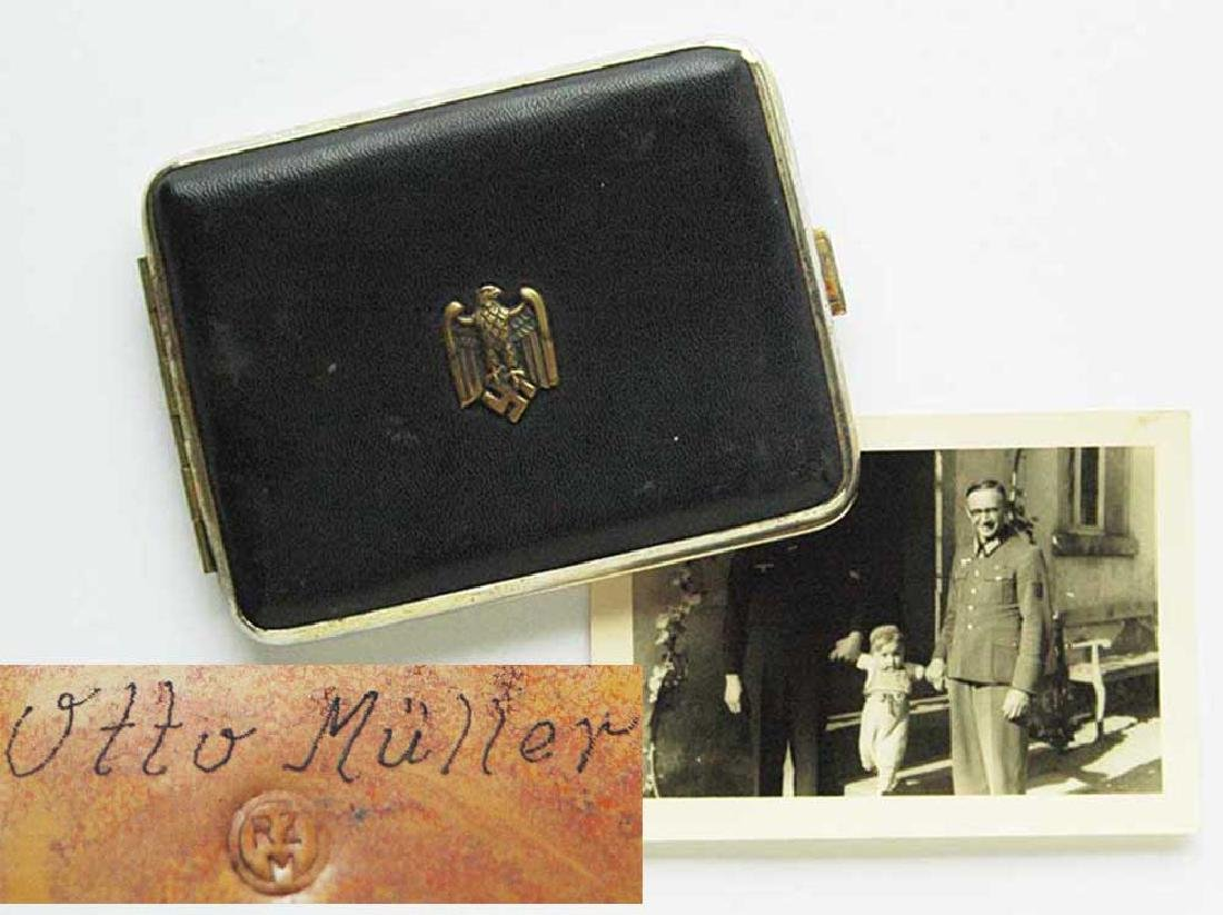 German WW2 Cigarette Case + Owners Photo, 1942 Krim