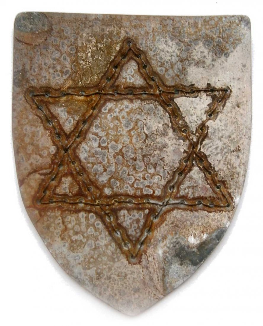 Jewish WW2 Shield w. Star of David, Metal EMBROIDERed