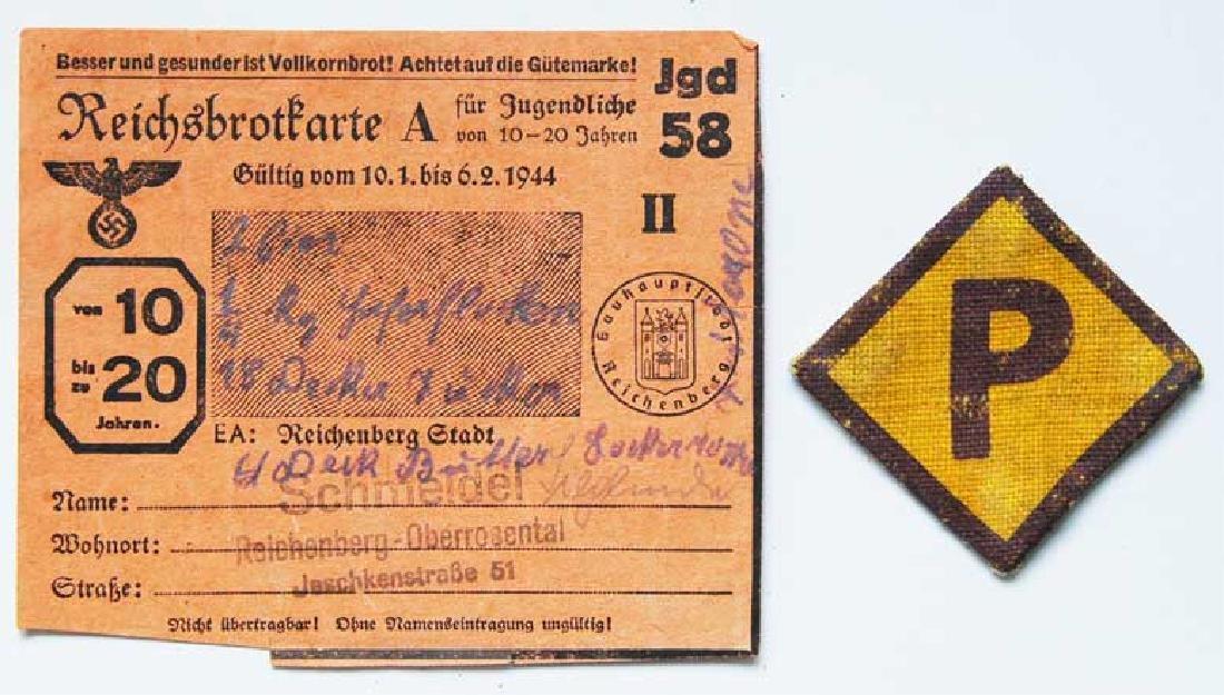 German WW2 Badge for Polish Worker + Document - Feb 17, 2019