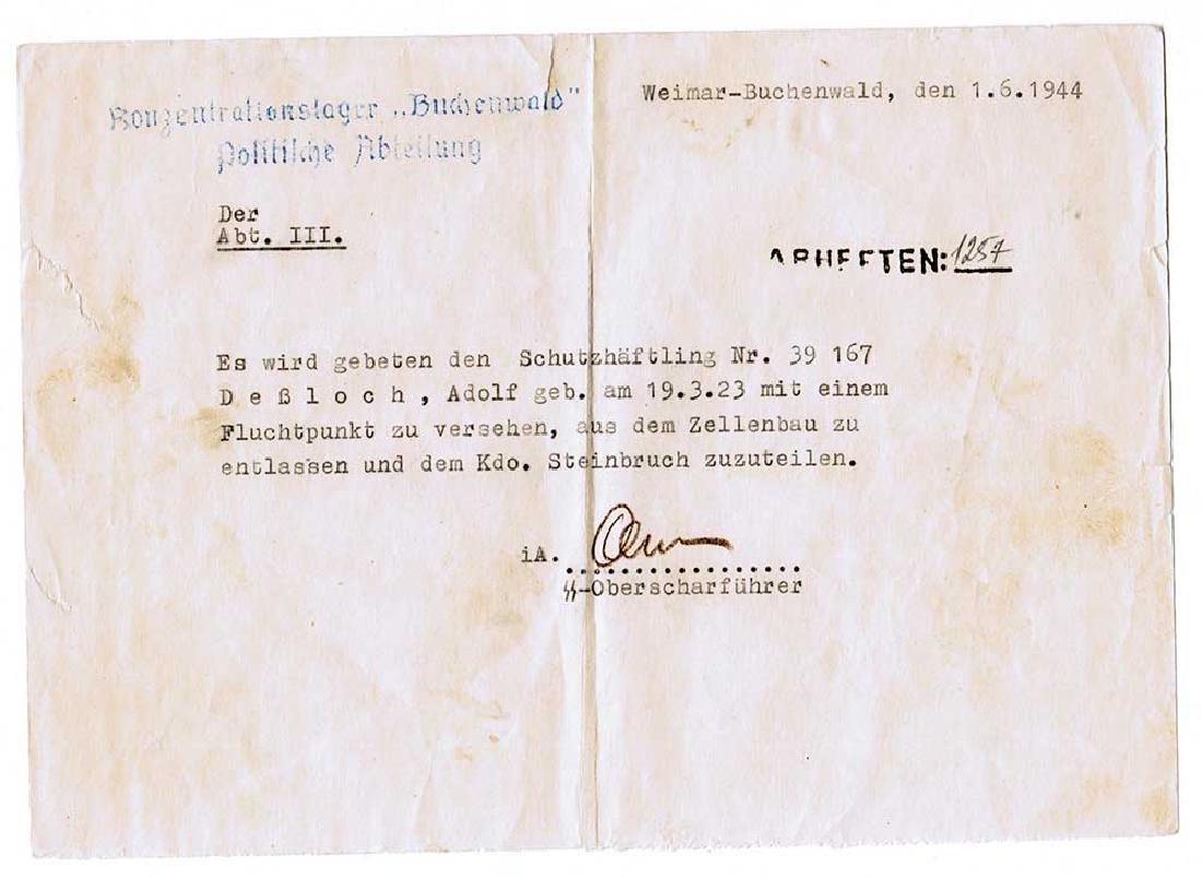 German WW2 Document, Murdered Prisoners in KZ - 2