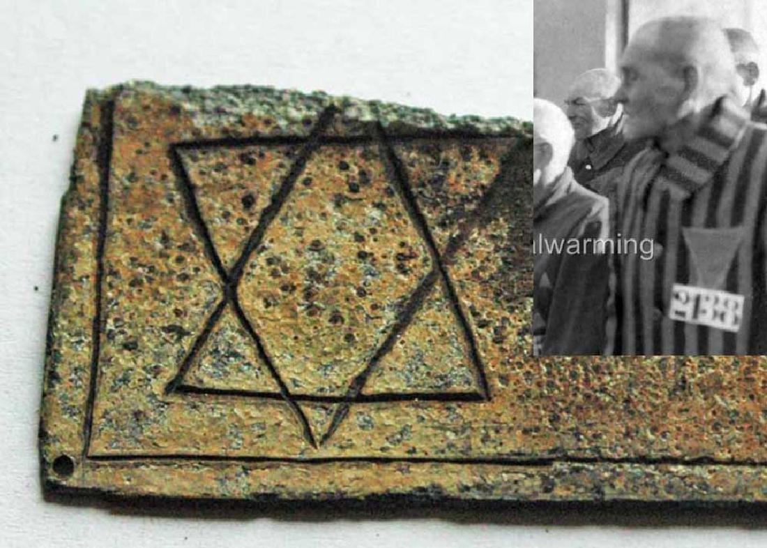 JEWISH WW2 PATCH w. STAR of DAVID + PRISONERS NUMBER