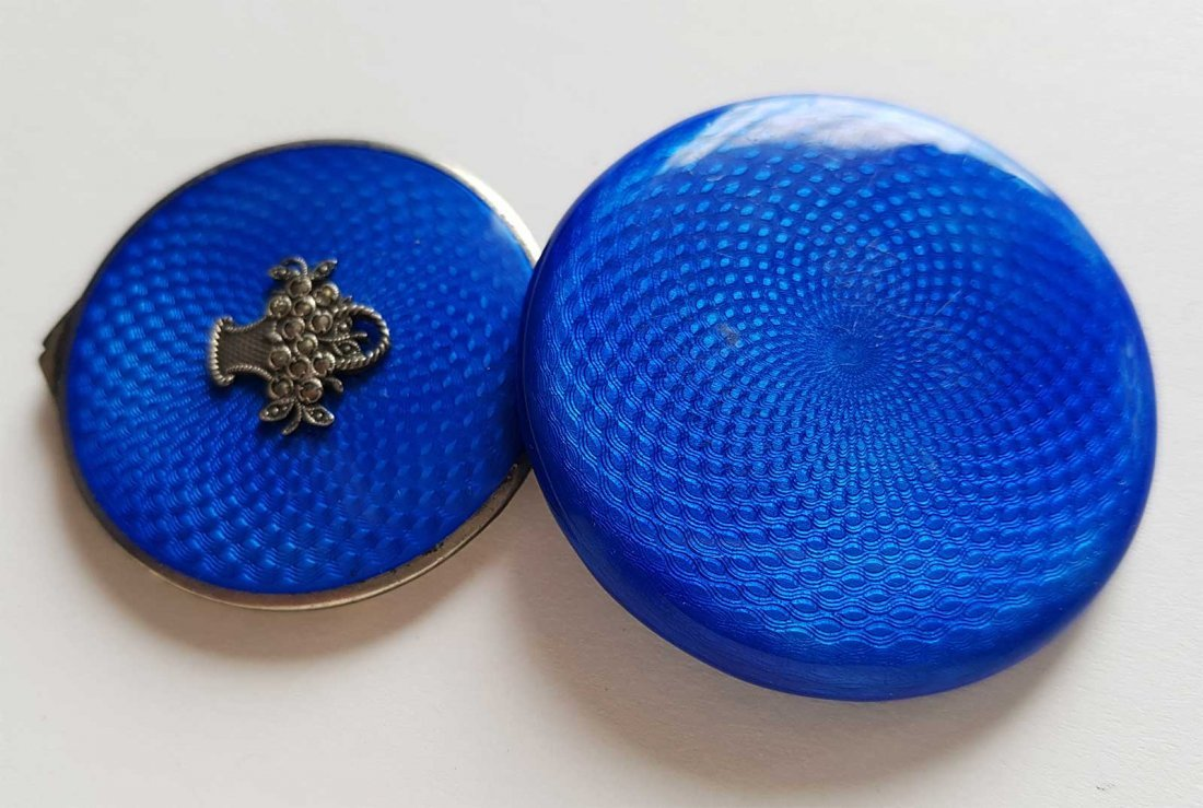 RUSSIAN SILVER ENAMEL COMPACT BOX, FABERGE STYLE - 5