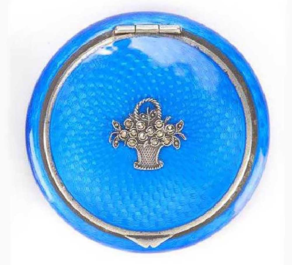 RUSSIAN SILVER ENAMEL COMPACT BOX, FABERGE STYLE - 8