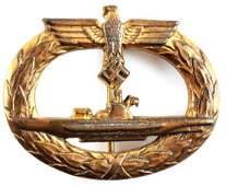 GERMAN WW2 KRIEGSMARINE U-BOAT BADGE, GWL