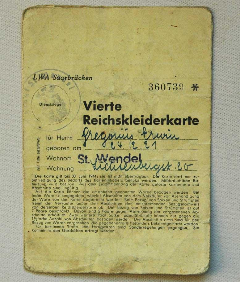 GERMAN WW2 RATION BOOK for FOREIGN LABORER