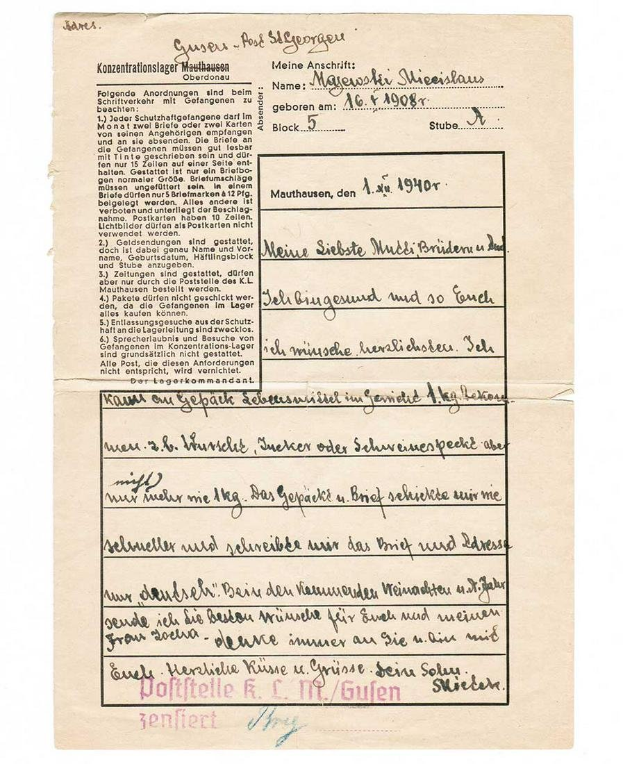 GERMAN WW2 LETTER fr. MAUTHAUSEN KL KZ, 1940