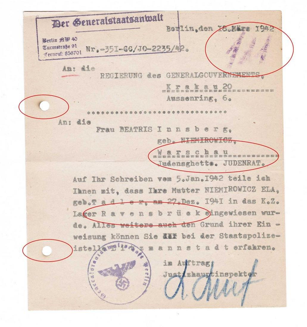 GERMAN WW2 DOCUMENT fr. WARSCHAU GHETTO