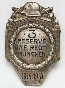 GERMAN WW1 BADGE 3d INFANTRY REGIMENT DOCUMENT