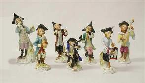 7 FIGURES MONKEY of the ORCHESTRA, MEISSEN, 19th/20th