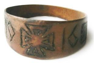 GERMAN WW1 RING w IRON CROSS TRENCH ART 1916