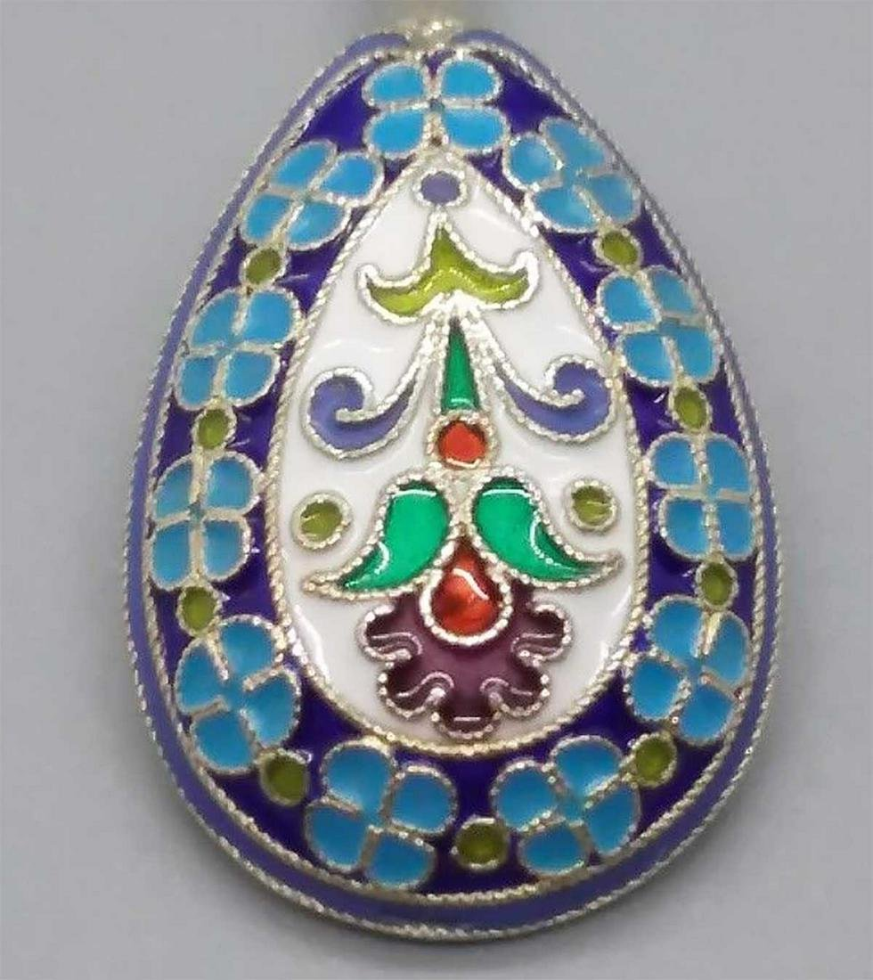 RUSSIAN IMPERIAL SILVER CLOISONNE SPOON, KUSMICHEV