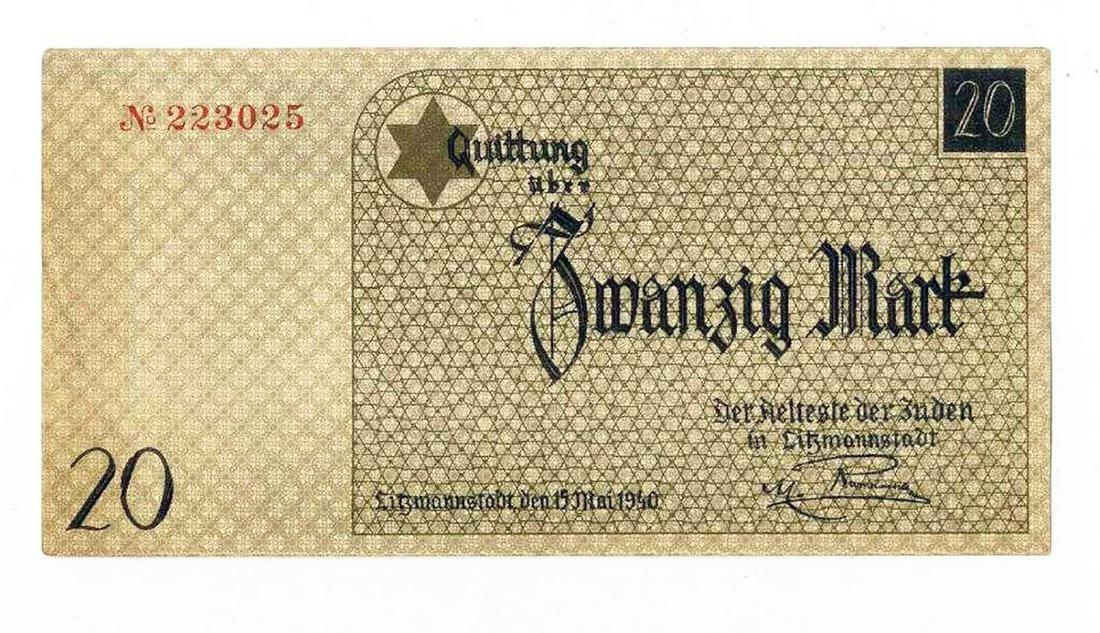 JEWISH WW2 20 MARK BANKNOTE fr. GHETTO LODZ