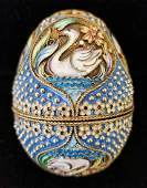 RUSSIAN IMPERIAL SILVER & CLOISONNE EGG, MC